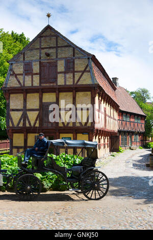 Den Gamle By, The Old Town, open-air folk museum at Aarhus,  East Jutland, Denmark - Stock Photo