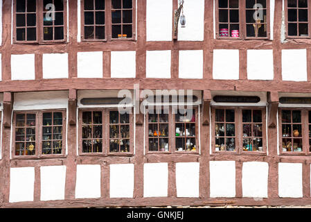 Half-timbered antique shop in Nedergade in Odense on Funen Island, Denmark - Stock Photo