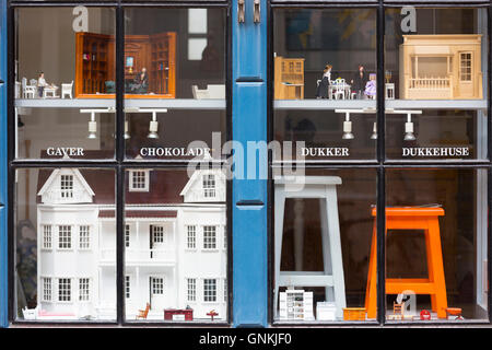 Dolls houses and toys in shop in Nedergade in Odense on Funen Island, Denmark - Stock Photo