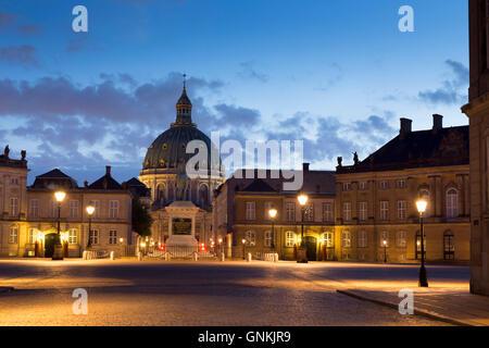 Amalienborg Royal Palace in Copenhagen, Denmark - Stock Photo