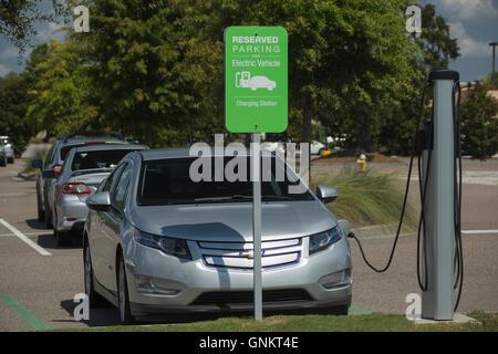Chevrolet Volt Electric Car Recharging At A Suburban