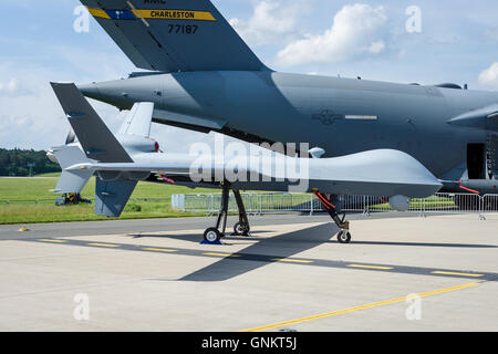 Unmanned combat air vehicle General Atomics MQ-9 Reaper. US Air Force. - Stock Photo