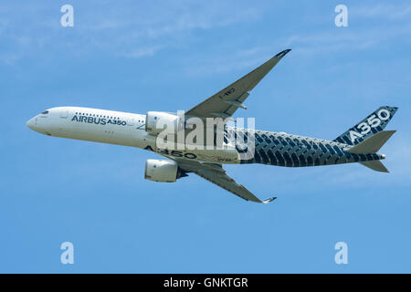 BERLIN, GERMANY - JUNE 03, 2016: Demonstration flight Airbus A350 XWB. Exhibition ILA Berlin Air Show 2016 - Stock Photo