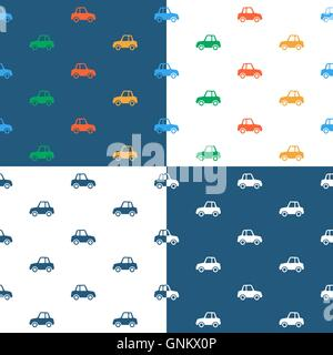 Vector image of seamless car pattern over colored background - Stock Photo