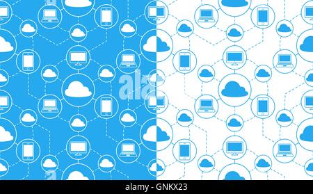 Seamless pattern of laptops, computers and mobile phones connected to clouds over white and blue background - Stock Photo
