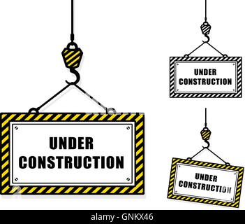 Vector image of under construction signs hanging from crane hooks against white background - Stock Photo