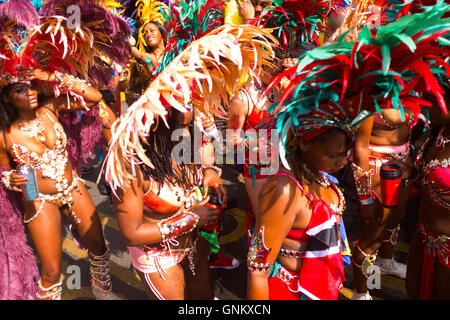 Carnival Masqueraders at the 50th Notting Hill Carnival, London, August 29 2016. - Stock Photo