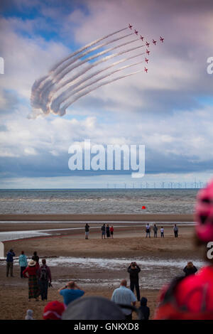 Rhyl Air Show 2016 located on the North Wales coast and held every year. Spectators watching the RAF Red Arrows - Stock Photo