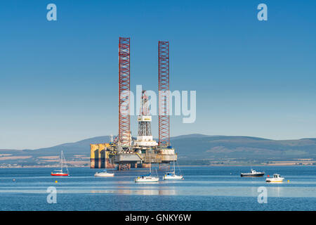 Oil rig/ drilling platform moored in Cromarty Firth in Ross and Cromarty, Highland, Scotland, United Kingdom