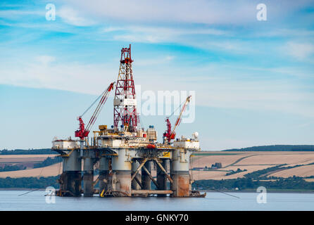 Oil rig/ drilling platform moored in Cromarty Firth in Ross and Cromarty, Highland, Scotland, United Kingdom - Stock Photo