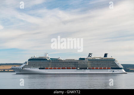 Luxury cruise liner Celebrity Silhouette leaving port of Invergordon in Ross and Cromarty,Highland, Scotland, United - Stock Photo