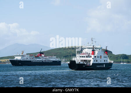 Two passenger ferries operated by Caledonian Macbrayne , Calmac, in Oban harbour in Argyll and Bute , Scotland, - Stock Photo