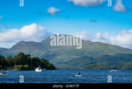 View of Ben Lomond beside Loch Lomond from Luss in Argyll and Bute, Scotland, United Kingdom - Stock Photo