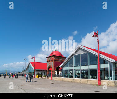 Cafes and Ee-Usk restaurant on North Pier in harbour at Oban , Argyll and Bute, Scotland, United Kingdom - Stock Photo