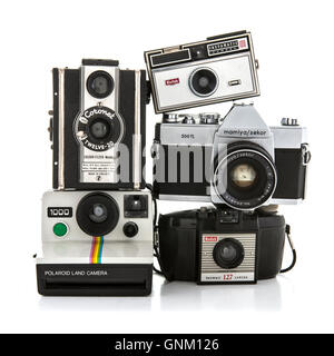 Collection of old cameras on a white background - Stock Photo