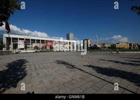 The National Theatre and Opera House building in Tirana, Albania. - Stock Photo