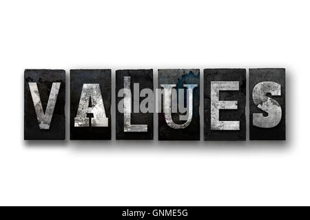 The word 'VALUES' written in vintage, dirty, ink stained letterpress type and isolated on a white background. - Stock Photo