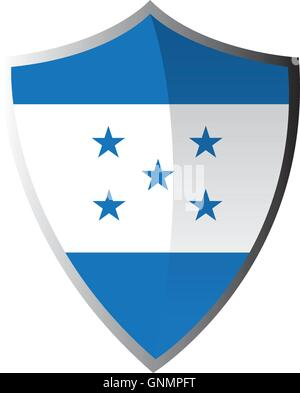 Isolated heraldry shield with the flag of honduras on a white background - Stock Photo
