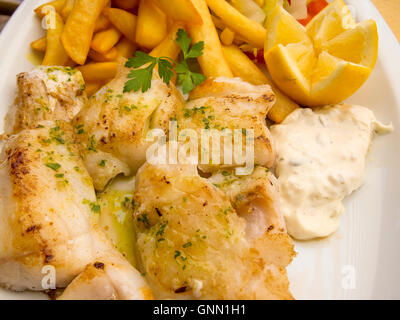 Grilled fish with chips and mayonnaise - Stock Photo