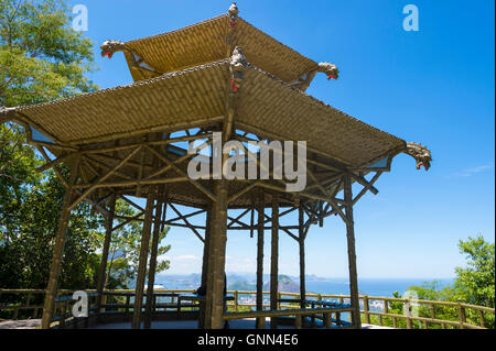 View through the traditional bamboo-inspired Chinese pagoda architecture of the Vista Chinesa scenic overlook in - Stock Photo