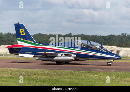 Frecce Tricolori formation aerobatic display team of the Italian Air Force Aeronautica Militare Italiano flying - Stock Photo