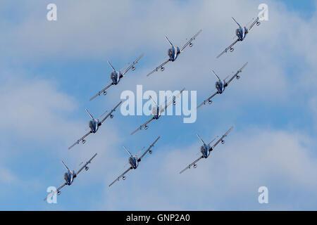 Frecce Tricolori formation aerobatic display team of the Italian Air Force Aeronautica Militare Italiano flying - Stock Photo