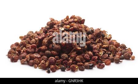 Heap of Sichuan pepper (seeds of Zantoxylum simulans). Also known as Chinese coriander, thingye, Szechuan(Szechwan) - Stock Photo