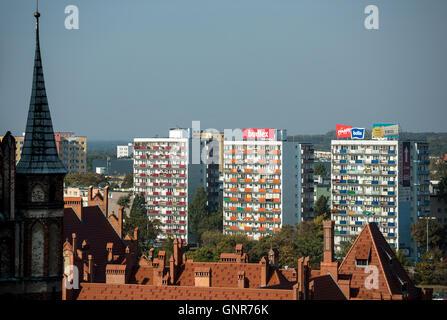 """Torun"""", Poland, Wohnhochhaeuser behind the old town - Stock Photo"""