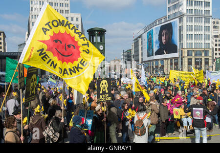 Berlin, Germany, people at an anti-nuclear Demonstration - Stock Photo