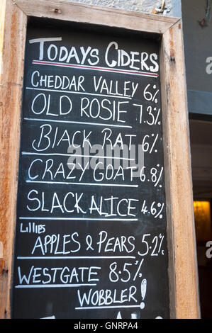 Todays Ciders sign at The West Gate bar pub in Bath, Somerset, England, Uk - Stock Photo