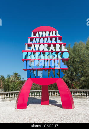 SAN BENEDETTO DEL TRONTO, ITALY- AUGUST 23: monument built by Ugo Nespolo on seafront to honor workers' rights on - Stock Photo