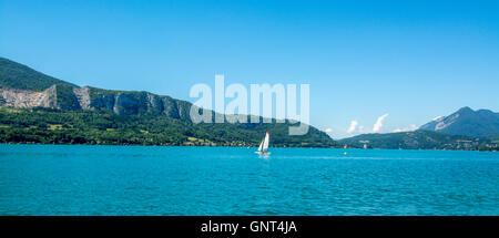 Sailing on Lake Annecy. Haute-Savoie. France. Europe - Stock Photo