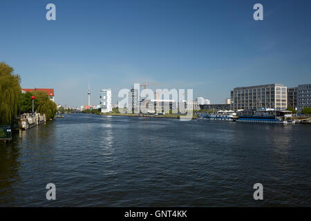 Berlin, Germany, view over the Spree towards media Spree - Stock Photo