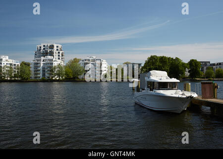 Berlin, Germany, view over the Spree on the peninsula Stralau - Stock Photo