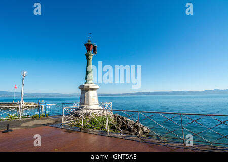Lighthouse Lamp on Lake Geneva, Evian les Bains, Haute Savoie, France, Europe - Stock Photo