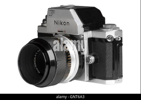 1971 Nikon F with Photomic FTn metering head, 55mm Micro-Nikkor attached.  Facing left - Stock Photo
