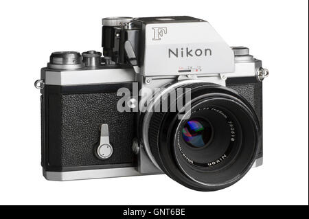 1971 Nikon F with Photomic FTn metering head, 55mm Micro-Nikkor attached.  Facing right - Stock Photo