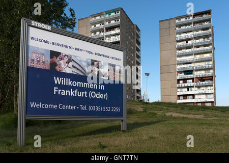Frankfurt (Oder), Germany, sign Welcome to Frankfurt (Oder) - Stock Photo
