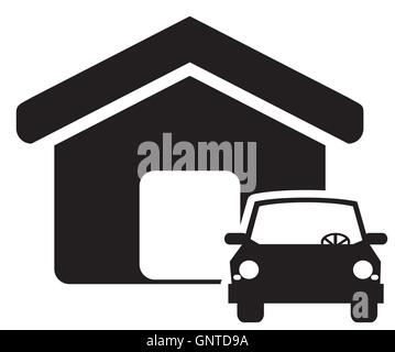 house and car icon - Stock Photo