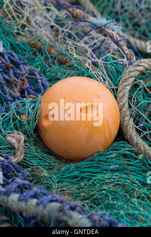 commercial fishing equipment in the harbor - Stock Photo