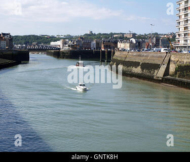 Entrance to inner harbour from Quai de la Marne, Dieppe, France lwith vessel Dieppe Snoop approaching - Stock Photo