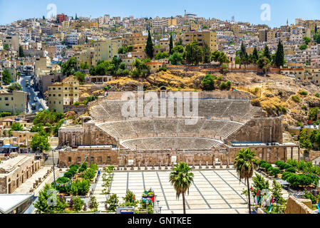 View on Roman Theater in Amman - Stock Photo