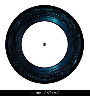 Typical 45 Seven Inch Vinyl record with white label over a white background - Stock Photo