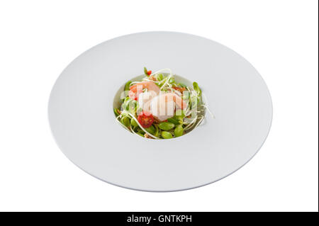 Front view of Modern style sunflower sprout salad with shrimp in ceramic dish isolated on white background - Stock Photo