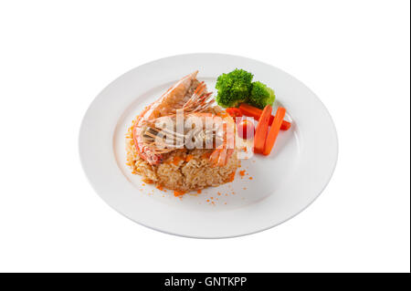 Front view of Modern thai style shrimp fried rice with river prawn in ceramic dish isolated on white background - Stock Photo