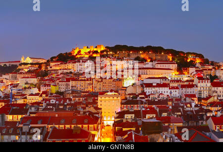 Skyline of Lisbon Old Town with Castle on top of a hill. Portugal - Stock Photo