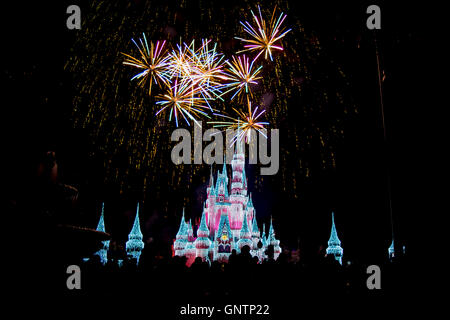 Fireworks above Cinderellas Castle in the Magic Kingdom - Stock Photo