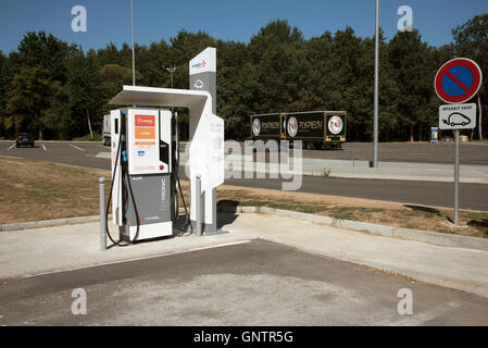 Motorway car charging station France -  A rapid charger for electric vehicles at a French autoroute service area - Stock Photo