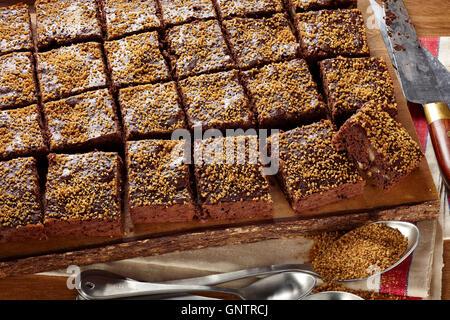 Dark chocolate sucanat brownies - Stock Photo