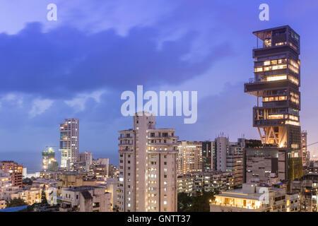 Mukesh Ambani owned Antilla/Antilia - the world's most expensive private residence, in Mumbai - Stock Photo